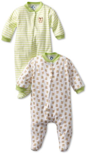 Gerber Unisex-Baby  2 Pack Sleep N Play Snap Front Bears, Green/White, 6-9 Months