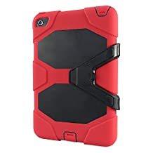 IIYBC Brand for Apple iPad Mini 4 Defender Shockproof Survivor Military Duty Hybrid Hard Case with Soft Silicone (Red)
