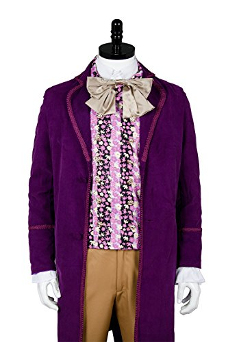 NoveltyBoy Willy Wonka Charlie and the Chocolate Factory Red Johnny Depp Purple Coat Vest Tie Set - Goggles Wonka Willy