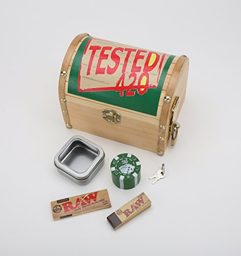 Round 420 Tested Wooden Stash Lock Box - Tobacco Box, Rollin