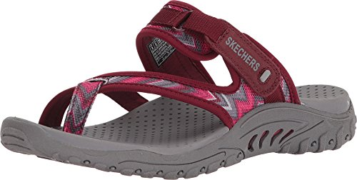 Burgundy Footwear - Skechers Womens Reggae - Zig Swag Burgundy/Pink 6 B - Medium