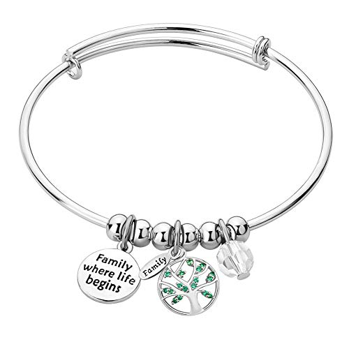 ree of Life Home Expandable Inspirational Wire Bangle Bracelet Heart Charm Stackable Adjustable Bracelets (Family Where Life Begins and Love Never Ends) ()