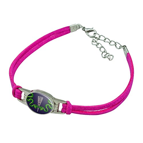(Graphics and More Aztec Double Green Snakes Novelty Suede Leather Metal Bracelet -)