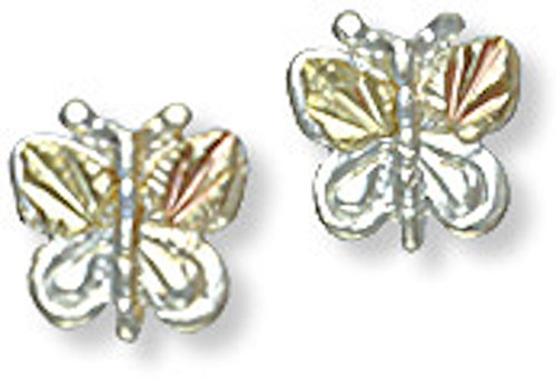 Black Hills Gold Silver Butterfly Earrings (Black Hills Gold Butterfly Earrings)
