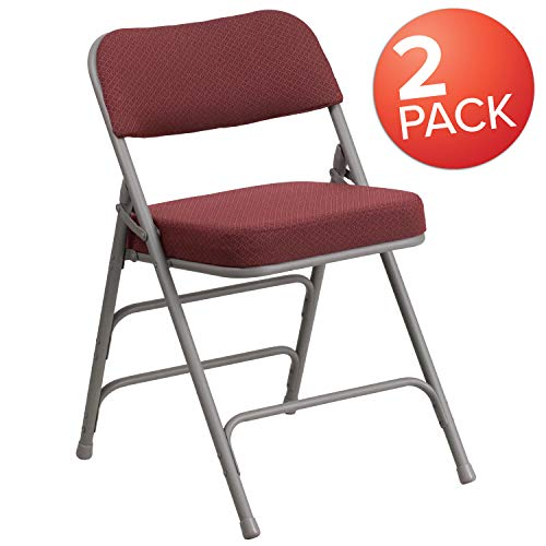 (Flash Furniture 2 Pk. HERCULES Series Premium Curved Triple Braced & Double Hinged Burgundy Fabric Metal Folding Chair)