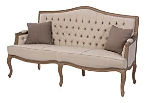 Baxton Furniture Studios Oliver French Provincial Style Fabric Button  Tufted Upholstered 3 Seater Sofa, Beige