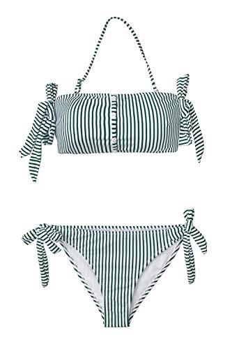 Halter Green Stripe (CUPSHE Women's Green White Stripe Off Shoulder Bikini XX-Large)