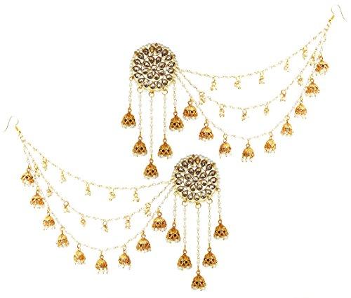 Mehrunnisa Rajwada Kundan & Pearls Five Jhumkis Long Earrings With Attached Nine Jhumki & Pearls Chain For Women (JWL1955)