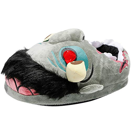 DEATU Unisex Home Slippers, Men and Women Animal Costume Shoes - House Slipper Socks - Cozy Slippers(8.5,Green)