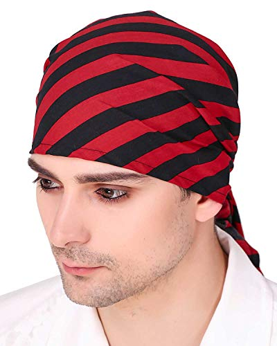 ThePirateDressing Halloween Pirate Medieval Renaissance Printed Striped Triangle Bandana C1502 (Black-Red)]()