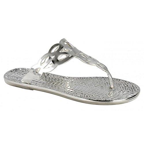 Spot On Damen Zehensteg Sandalen mit Krokomuster (37 EU) (Silber)