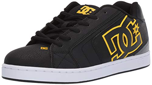 DC Men's NET Skate Shoe, Black/Gold, 9 M US