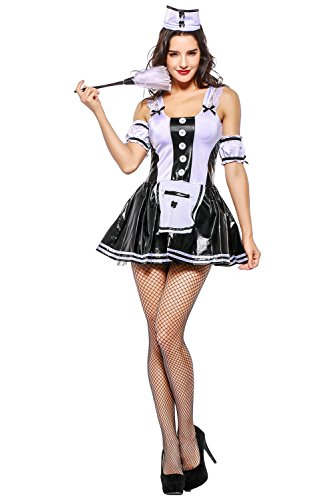 Obtai Halloween French Apron Maid Waiter Dress Cosplay Costume Lace (Halloween Date Night Ideas)