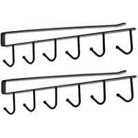 2 Pieces 6 Hooks Hanging Cup Holder Closet Bottom Hanging Rack - Super Strong Durable Easy to Install - Kitchen Cabinet…