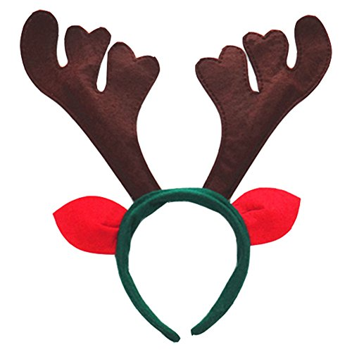 Grazing Halloween Christmas Hair Ornament Plush Reindeer Antlers Headband (Coffee with (Reindeer Antler Headbands)