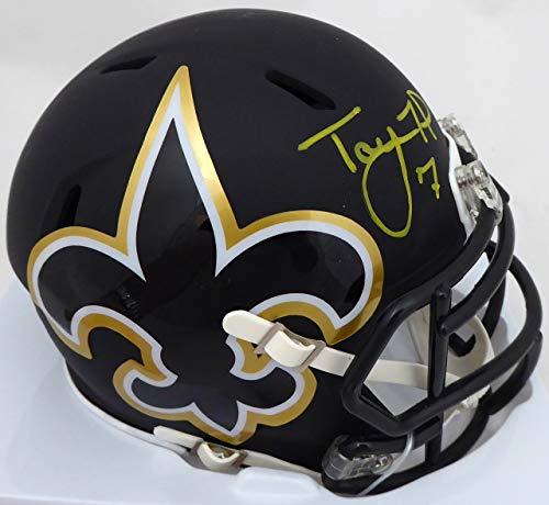 Taysom Hill Autographed New Orleans Saints AMP Black Speed Mini Helmet Beckett BAS
