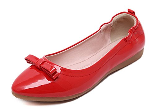 Toe pu PU red Bow patent On Heel soft Low Little Comfy Women's Patent CAMSSOO Shoes Flats Slip Round 0HTgUTqw