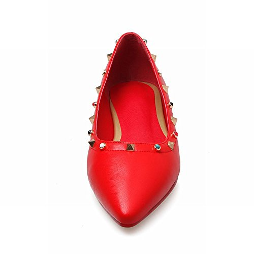 Latasa Womens Studded Pointed-toe Low Heel Dress Pumps Red yYdogBe