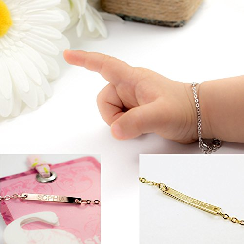 Customize Baby id Name Bar Bracelet 16k Gold Plated Dainty your baby name Hand Stamp or Machine New Born to Children and First Birthday Custom Christmas gift
