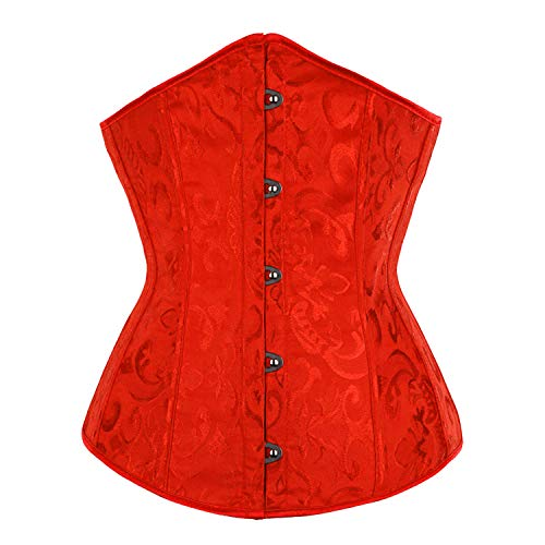 BARGOOS Women Underbust Corset Belt for Halloween Plus Size Floral Lace Up Waist Trainer for Weight Loss Red -