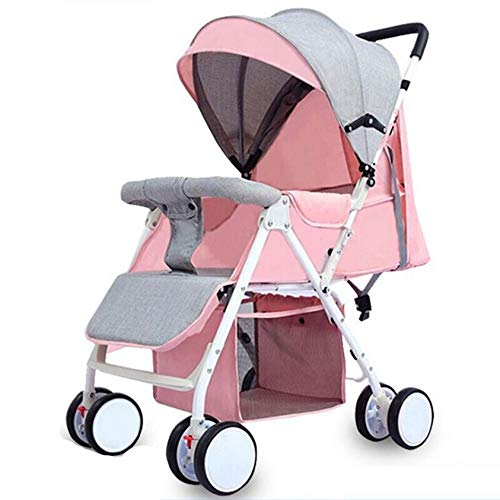 Stroller,Baby Stroller Travel System Can Lie Down Can Sit Stroller,Lightweight Fold Explosion-proof Wheel Trolley,Pink