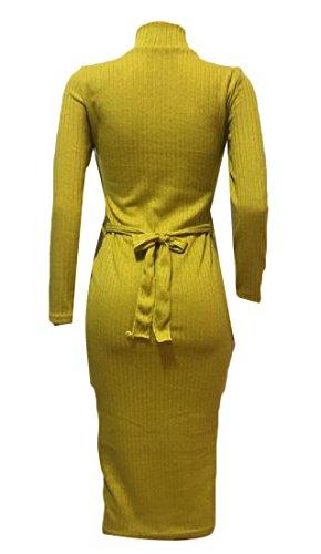 Knit High Dress Sleeve Comfy Beach Neck Straps Pockets Women Long Yellow Maxi TITUq4x
