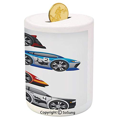 (SoSung Cars Ceramic Piggy Bank,Collection of Formula Race Cars Modern Mechanical Technology Automotive Championship 3D Printed Ceramic Coin Bank Money Box for Kids & Adults,Multicolor)