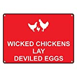 Weatherproof Plastic Wicked Chickens Lay Deviled Eggs Sign with English Text and Symbol