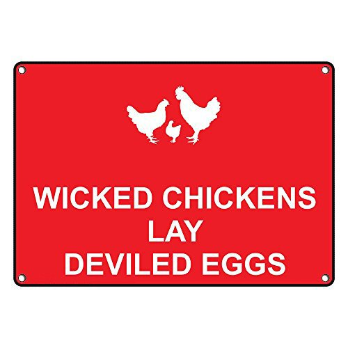 Weatherproof Plastic Wicked Chickens Lay Deviled Eggs Sign with English Text and Symbol by SignJoker