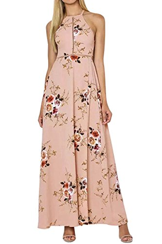 Beige Halter Sexy Romper Halter Dress Printed Women's YMING Sleeveless Dress Flower Maxi Z5qPCnwzx