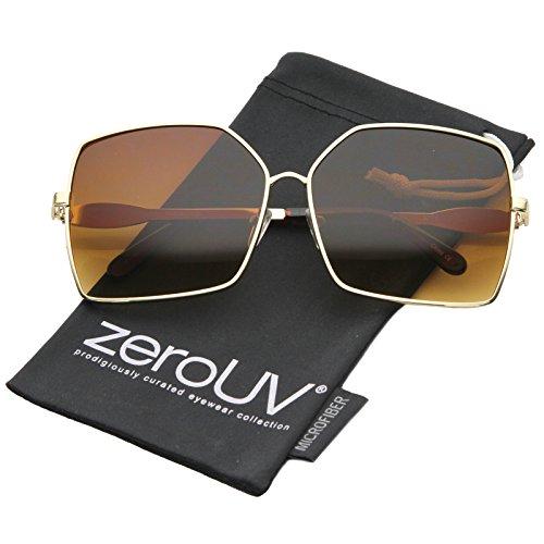 Womens Oversize Metal Frame Gradient Lens Square Sunglasses 65mm (Gold/Amber)