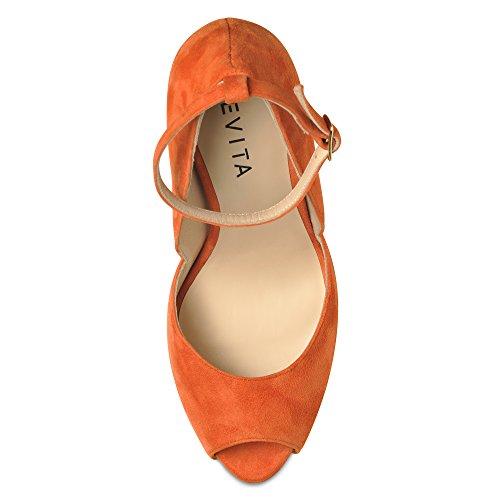 Evita Shoes - Zapatos de vestir de Piel para mujer Naranja - naranja