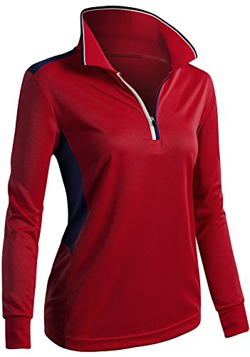 CLOVERY Golf Wear Two Tone Collar Long Sleeve Basic Polo Top RED US S/Tag S