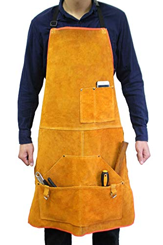 Leather Welding Apron Flame-Resistant Heat Resistant Work Apron Fire Resistant Welding/Welder Smock, 24 x 36 Inch, 6 Pockets by Handook (Image #8)