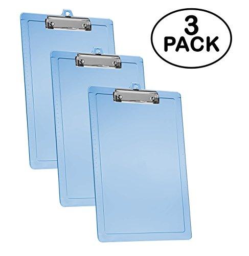 Acrimet Clipboard Letter Size Low Profile Clip (Blue Color) (3 - Pack)