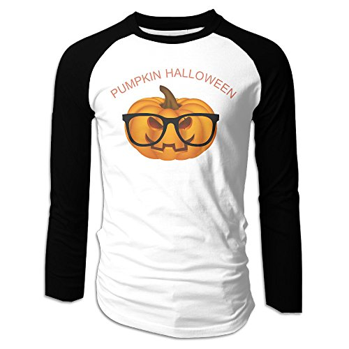 LANTERN PUMPKIN Halloween Man's Long Sleeve Raglan Black]()