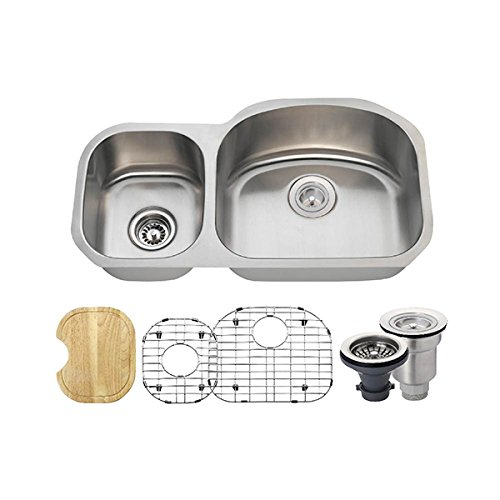 501R 16 Gauge Stainless Steel Kitchen Ensemble Bundle – 6 Items Sink, Basket Strainer, Standard Strainer, 2 Sink Grids, and Cutting Board