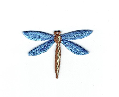 Small - Blue Dragonfly - Insects - Iron on Applique - Embroidered Patch