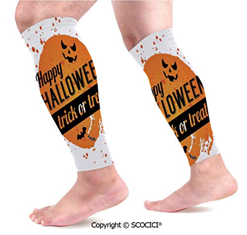 Flexible Breathable Comfortable Leg Skin Protector Sleeve Happy Halloween Trick or Treat Watercolor Stains Drops Pumpkin Face Bats Calf Compression Sleeve -