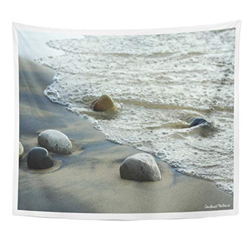 Semtomn Tapestry Artwork Wall Hanging Michigan Natural Great Lakes Beach Rock Gentle Waves Sand 60x80 Inches Tapestries Mattress Tablecloth Curtain Home Decor Print -