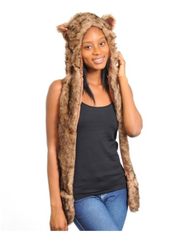 Adult Winter Faux Fake Animal Fur Scarf Trapper Hat w Paw Mittens Gloves Husky Brown (Bear Hood With Paw Scarf)