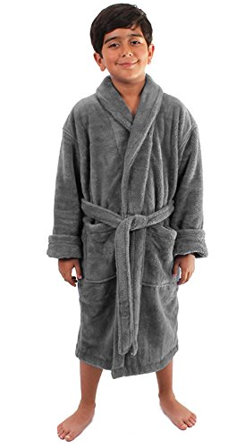 Turkuoise Boys Ultra Soft Plush Bathrobe Made in Turkey (Large (Ages 9-12), Gray)
