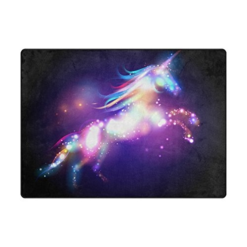 INGBAGS Super Soft Modern Unicorn Magic With Stars Area Rugs Living Room Carpet Bedroom Rug for Children Play Solid Home Decorator Floor Rug and Carpets 63 x 48 ()