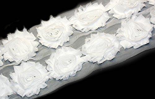 Rosette Chiffon (3 Yards/42 Flowers 2.5 Inch Shabby Rose Trim Flowers Chiffon Rosettes (White))