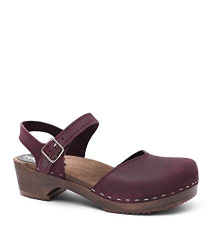 Sandgrens Swedish Wooden Low Heel Clog Sandals for Women | Saragasso Plum DK, EU 38