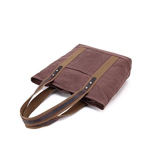 mefly una hombro bolso de lienzo grande capacidad Shopping Bag Bolsa de lienzo, Café Café