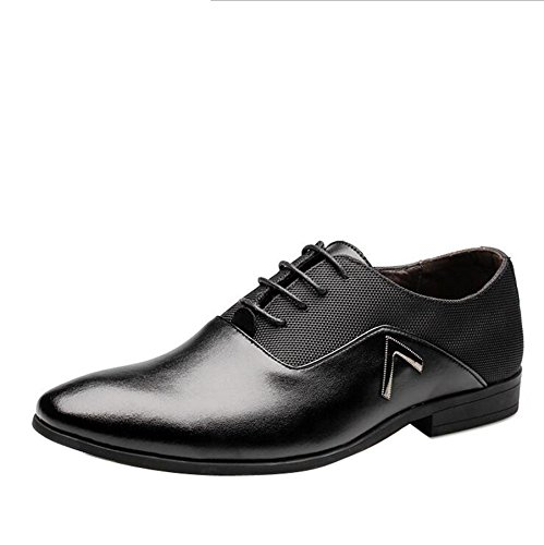 Gaorui Men Pointed Toe Business Dress Formal Leather Shoes Flat Oxfords Loafers Slip On by Gaorui