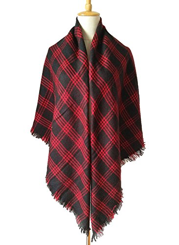 MOLERANI Women's Tassels Soft Plaid Tartan Scarf Winter Large Blanket Wrap Shawl (One Size, 11-Black Red)