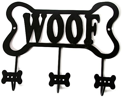 "DEI Wall Rack ""Woof"" Bone Leash Holder, Black"