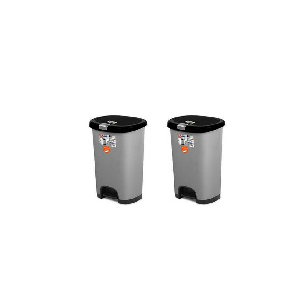 HEFTY 12.8G Select Step On with Soft Close Lid Stainless Steele Color with Black 2 Pack